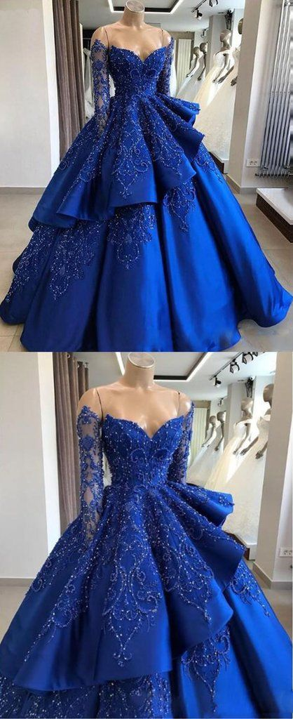Luxury Royal Blue Satin Beaded Women Prom Dress Ball Gown Formal ...
