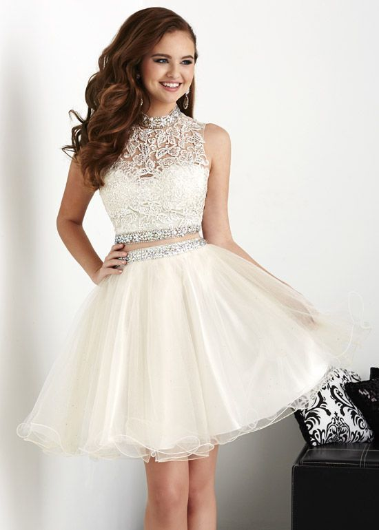 1a9312aad404a Cute Two Pieces Lace Prom Dress Short, Mini Prom Gowns ,Newly Short  Cocktail Dress