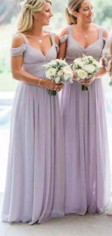 New Arrival Light Lavender Chiffon Wedding Guest Dress A Line Bridesmaid  Dress Women Party Gowns ,Plus Size Maid Of Honor Gowns