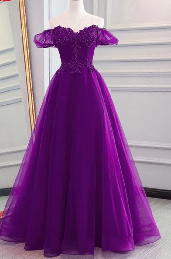 Elegant A Line Sweetheart Purple Organza Prom Party Dress 2019 Plus Size  Formal Evening Dress ,Cheap Women Quinceanera Dresses, Sweet 16 Quinceanera  ...