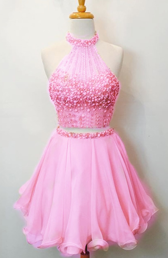 Two Piece Pink Chiffon Short Homecoming Dress ,Short Cocktail Party Gowns , Custom Made Pink Cocktail Gowns