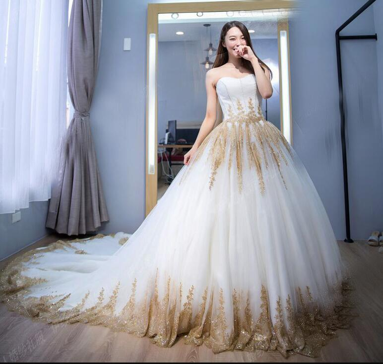 Elegant Sweet White And Gold Lace Ball Gown Wedding Dresses Plus Size  Wedding Gowns ,Sweep Train Women Bridal Party Gowns