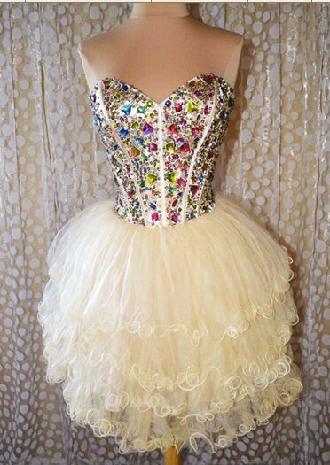 Luxuty Crystal Beaded Tulle Short Homecoming Dress , Sweet 16 Prom Gowns , Knee Length Homecoming Party Gowns