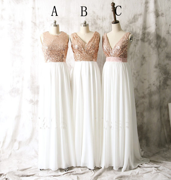 Cheap A Line Rose Gold Sequin White Chiffon Ruffle Long Bridesmaid Dress ,Plus Size Maid Of Honor Gowns