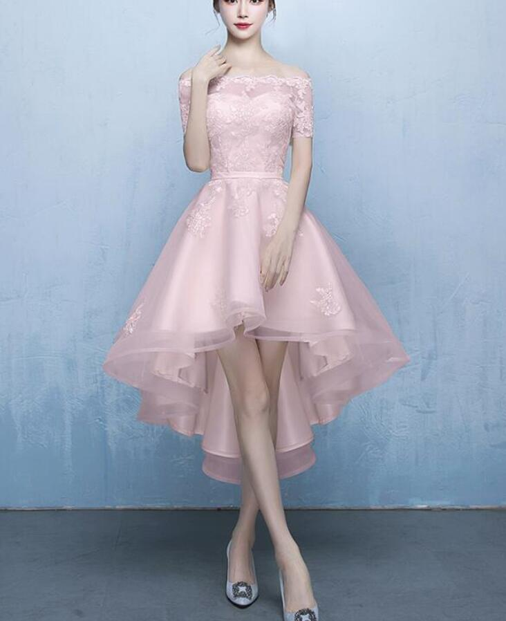5995a2b2f9e Cheap Pink Lace High Low Prom Dress With Short Sleeve Strapless Short  Homecoming Dress