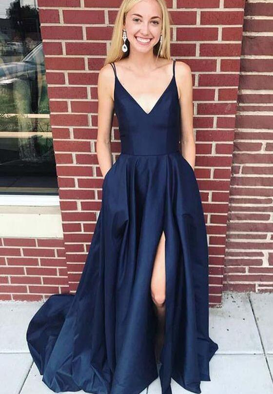 Plus Size Navy Blue Satin Long Prom Dress With Side Slit 2019 Cheap V-Neck  Prom Party Gowns ,Wedding Party Gowns