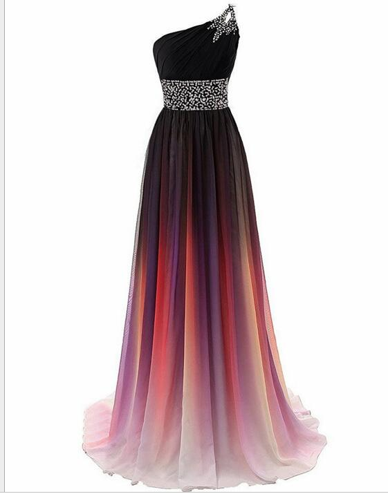 Fashion A Line Beaded Gradient Long Prom Dress Plus Size Formal Evening Dress, Long Bridesmaid Dress, One Shoulder Party Dress