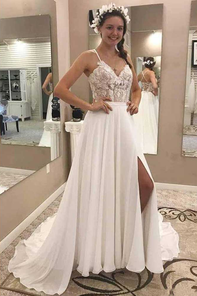 Spaghetti Strap Chiffon Country Wedding Dresses A Line Women Wedding Gowns  Plus Size Bohemian Bridal Dress
