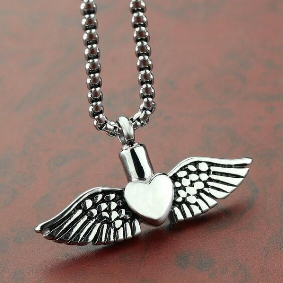 Silver angel wing Cremation Urns Necklace ashes holder funeral urns memorial jewelry keepsakes