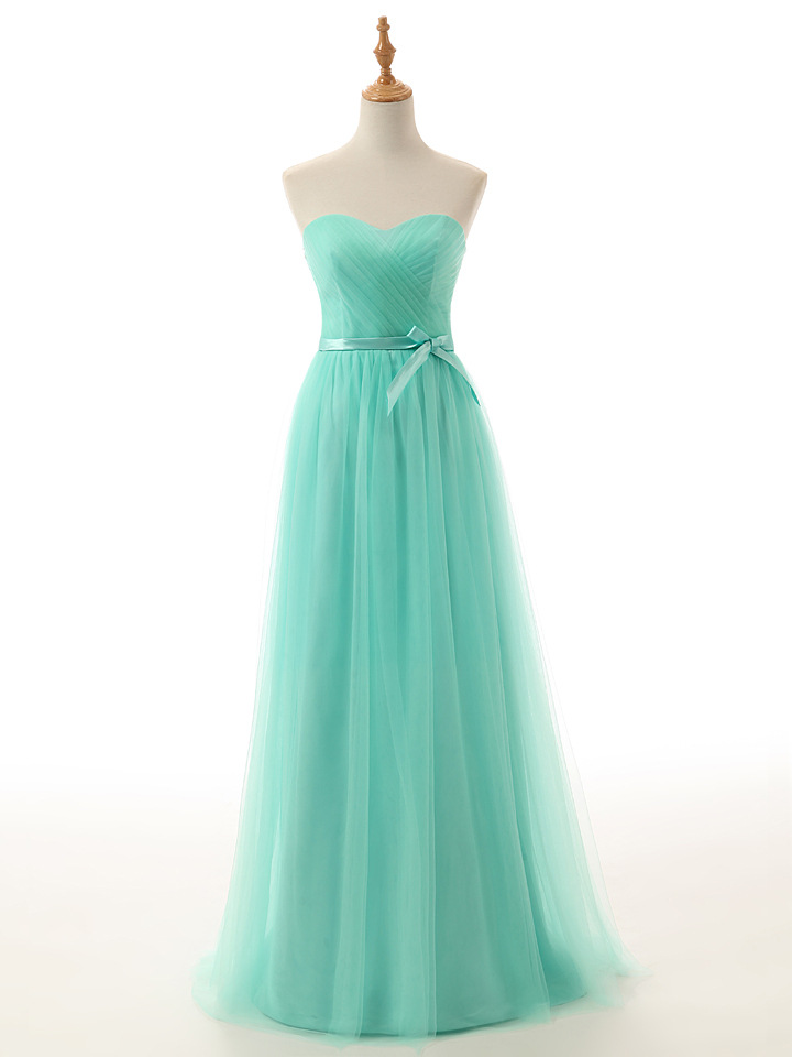 Cheap Mint Green Tulle Long Bridesmaid Dress Custom Made Prom Party Gowns With Bow Plus Size Maid Of Honor Dresses