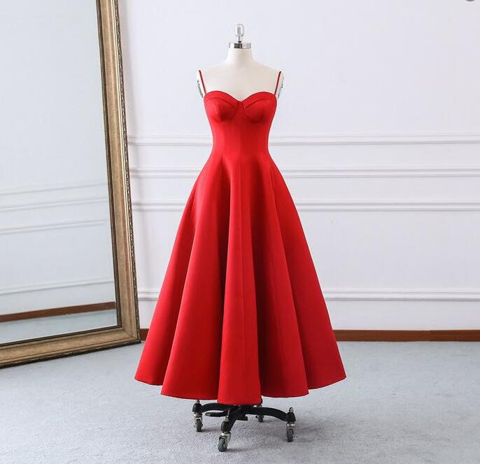 New Arrival Red Satin Spaghetti Strap Long Prom Dress Strapless Women Prom Gowns , Cheap Wedding Prom Gowns