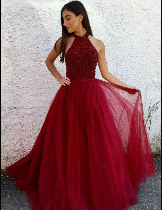 Charming Halter Beaded A Line Burgundy Tulle Long Prom Dress Custom Made Backless Evening Party Gowns