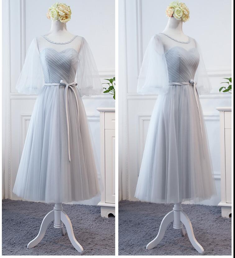 New Arrival SImple Silver Tulle Ruffle Tea Length Bridesmaid DressScoop  Plus Size Wedding Party Gowns