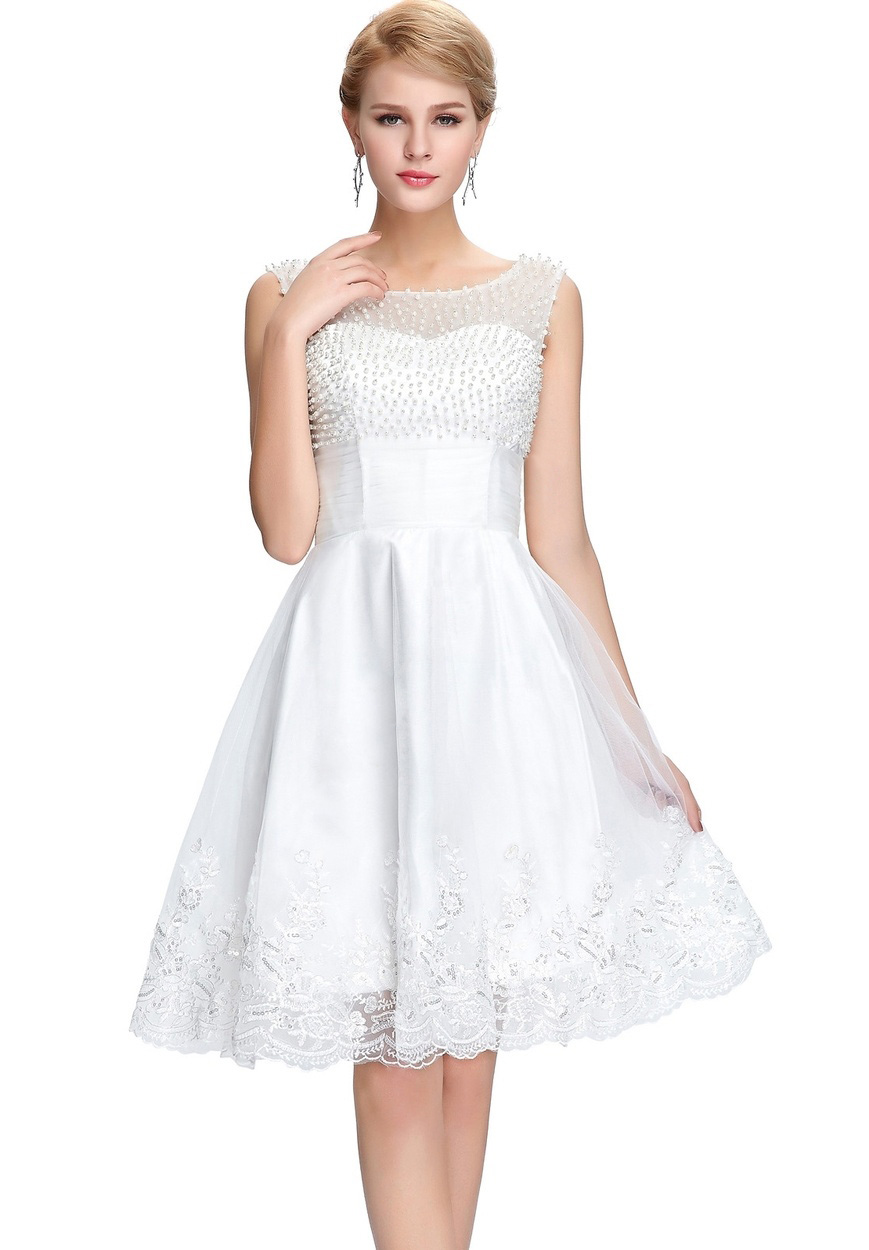 White Beaded Short Homecoming Dress, Above Length Cocktail Gowns ,Mini Cocktail Dress, Short Prom Dress