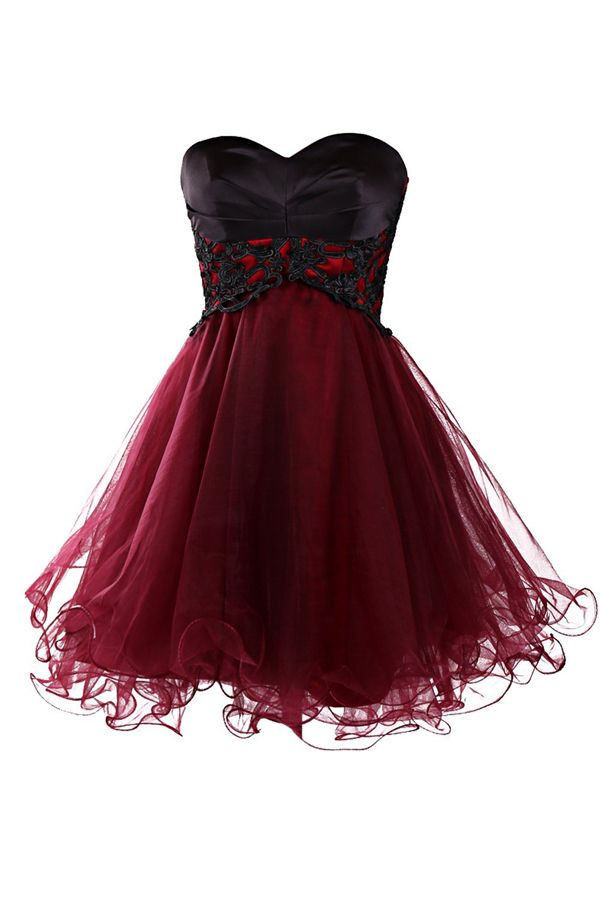 Custom Made Burgundy Tulle Short Homecomong Dress With Black Lace Prom Party Gowns Strapless Short Cocktail Gowns