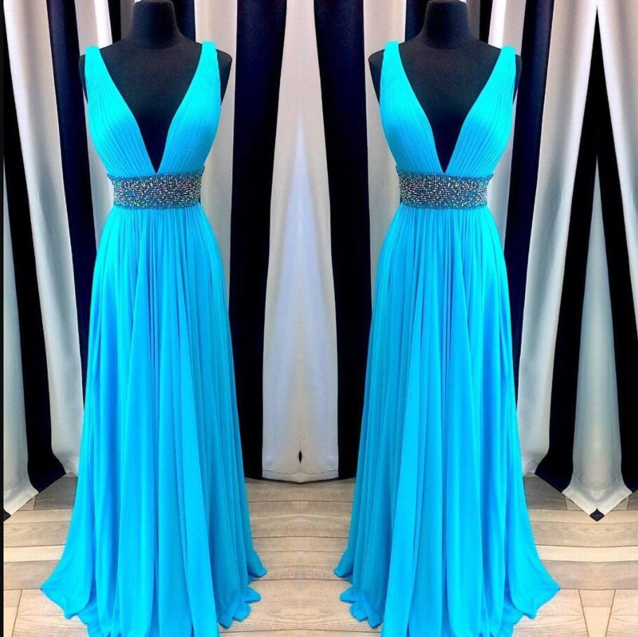 Plus Size V-Neck Beaded Ruffle Long Prom Dresses Custom Made Simple Women Dress For Teens , Formal Dress