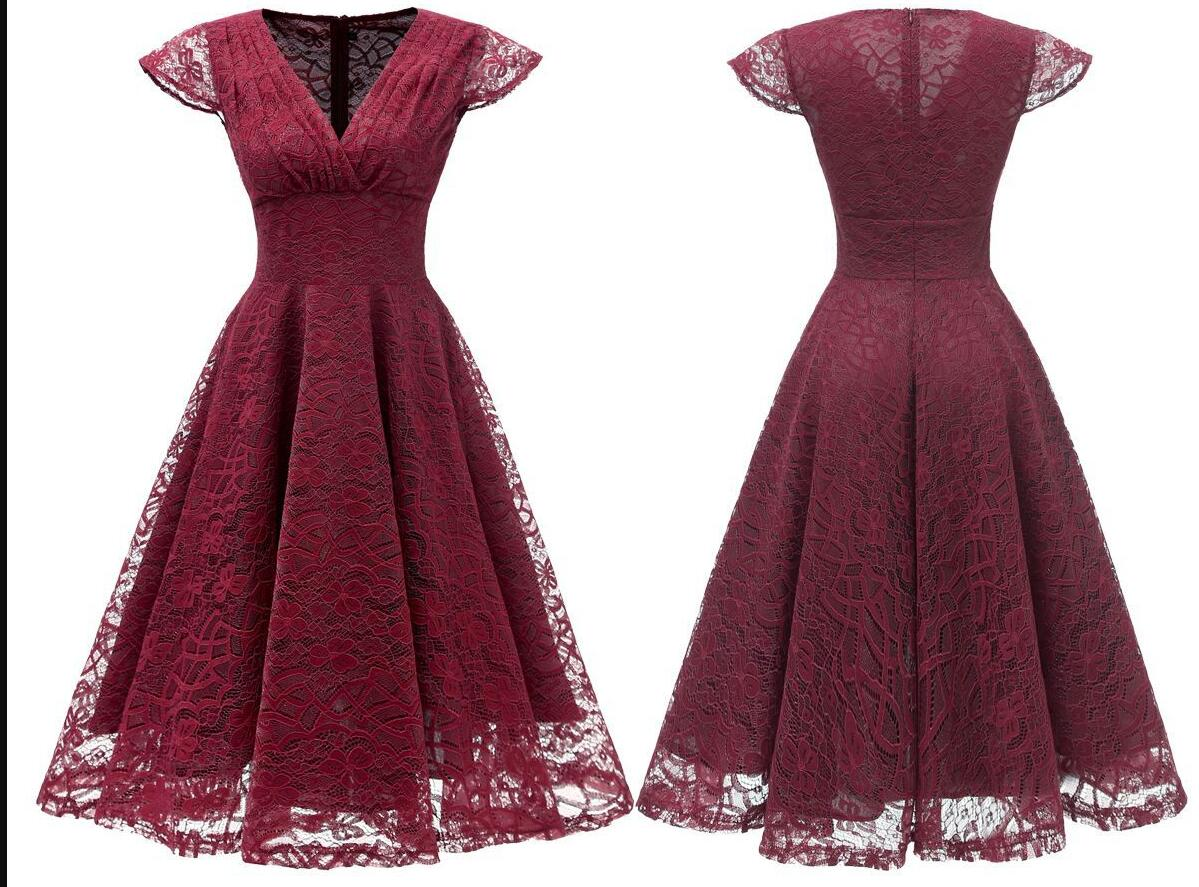Burgundy Short Soft Lace Prom Dress Off Shoulder Women Party Gowns , Short Bridesmaid Gowns , Party Dress . A Line Wedding Gyuest Gowns,Short V-Neck Lace Women Dress