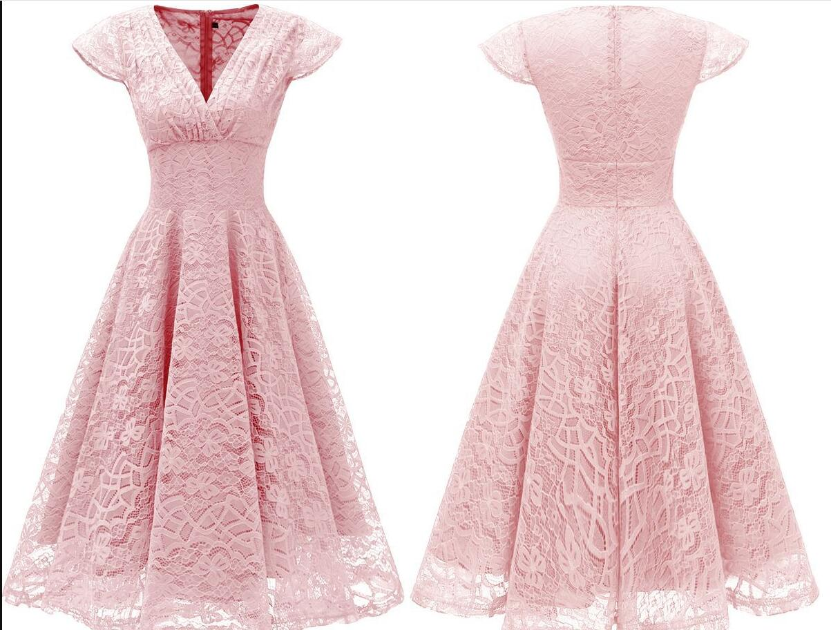 Light Pink Short Soft Lace Prom Dress Off Shoulder Women Party Gowns , Short Bridesmaid Gowns , Party Dress . A Line Wedding Gyuest Gowns,Short V-Neck Lace Women Dress