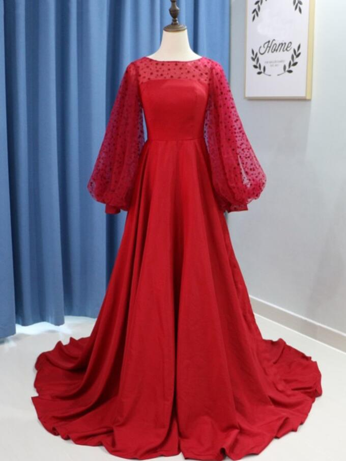 Elegant Red Satin Long Prom Dresses With Wide Long Sleeve Bots 2020 Arabic Evening Dress Sweep Train Women Party Gowns