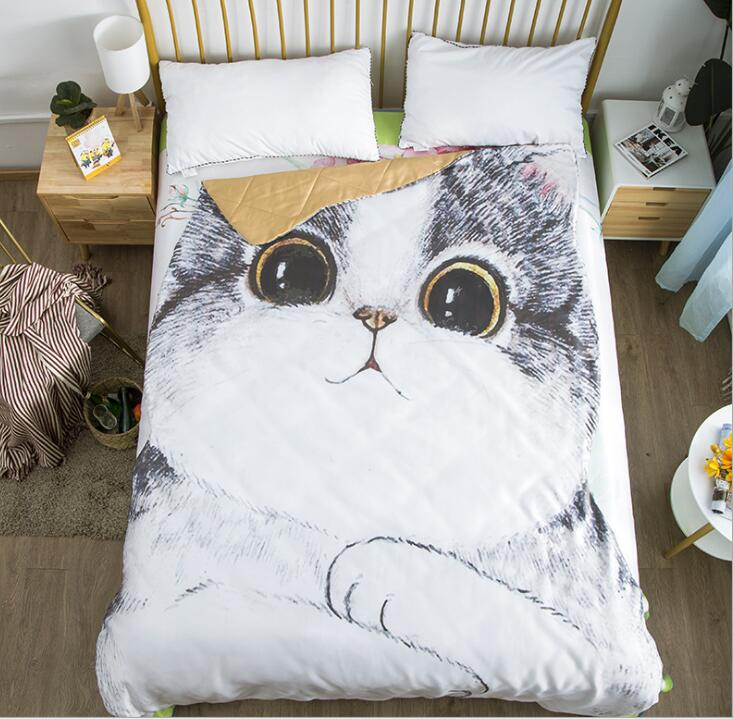 Couple Quilt:67'x 92' 3D Printed Thin Quilt Bedding Cute Shaped Cat Throw Blanket Comforter Washable Light Quilt