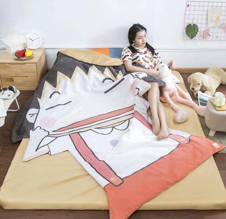 Single Quilt:43'x 59' Anime Thin Quilts Chi-bi Maruko Throw Blanket 3D Print Cute Bedding Comforter Light Quilt Washable