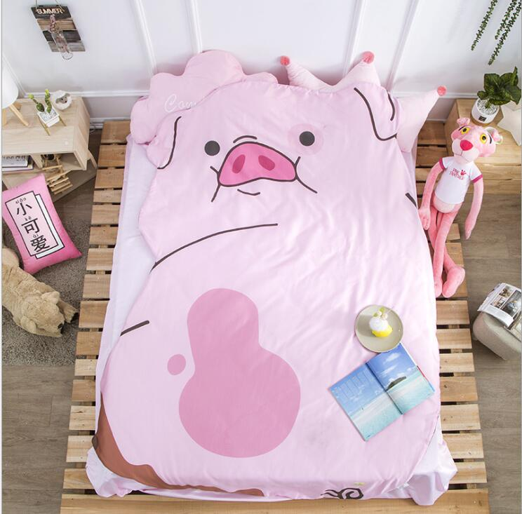 Queen Quilt 87'x94' Anime Thin Quilts Pig Throw Blanket 3D Print Cute Bedding Comforter Light Quilt Washable
