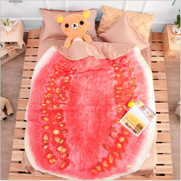 Queen Quilt 87'x94' Anime Thin Quilts watermelon Throw Blanket 3D Print Cute Bedding Comforter Light Quilt Washable