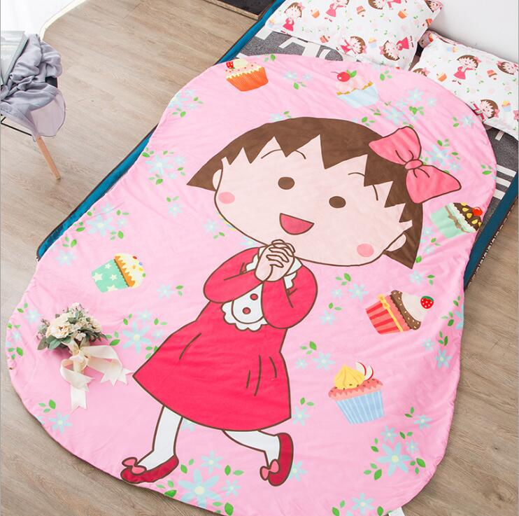 Queen Quilt 87'x94' Anime Thin Quilts Chi-bi Maruko Throw Blanket 3D Print Cute Bedding Comforter Light Quilt Washable