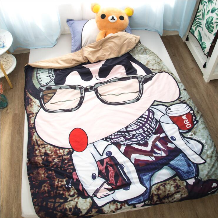 Single Quilt:43'x 59' Anime Thin Quilts Crayon Shin-chan Throw Blanket 3D Print Cute Bedding Comforter Light Quilt Washable