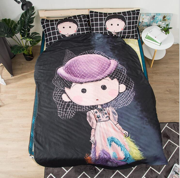 Queen Quilt 87'x94' Anime Thin Quilts Fashion Girl Throw Blanket 3D Print Cute Bedding Comforter Light Quilt Washable