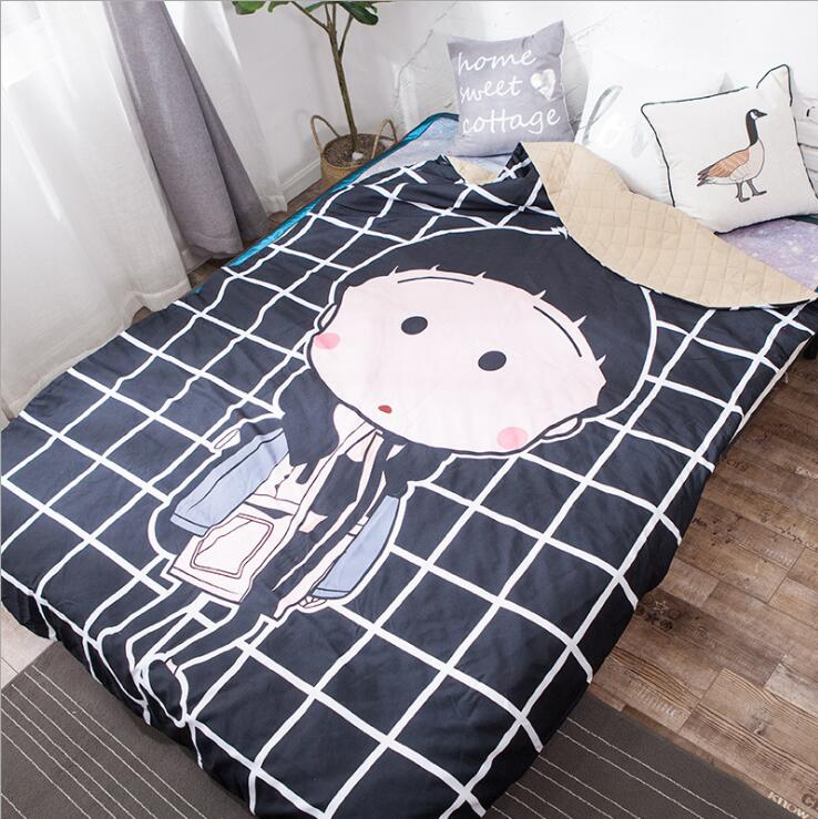 Queen Quilt 87'x94' Anime Thin Quilts Fashion Girl Throw Blanket 3D Print Cute Bedding Comforter Light Quilt Washable Duvet Cover Set