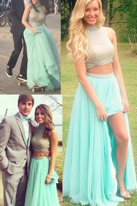 Light Green Two Pices Prom Dresses With Beaded Pearls Luxury Floor Length Plus Size Halter Women Gowns A-Line Luxury Off Shoulder Girls Graduation Gowns