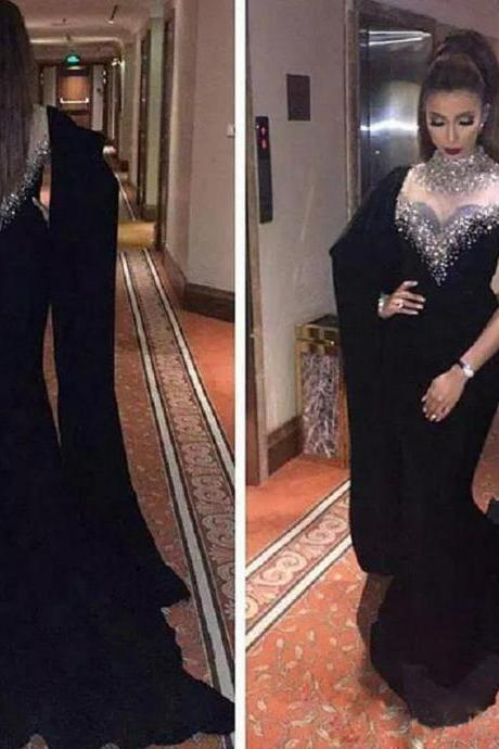 Black Chiffon Long Prom Dresses With Beaded Hamd Made Sexy Cape Style Latest Mermaid Evening Gowns Plus Size Dubai Arabic Party Dresses Plus Size Women Gowns