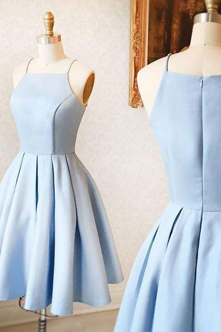 Sexy Short Satin Prom Dress Ruffle Light Blue Homecoming Dresses Spagheeti Straps Girls Party Dress A-Line Graduation Dress Simple Prom Gowns