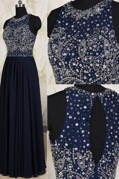 Luxury Dark Navy Blue Chiffon Long Prom Dresses Crystal O Neck Formal Evening Dress A-Line Rhineston Backless Sexy Lady Prom Gowns Strapless Party Gowns