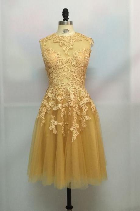 Unique sexy Champange Lace Tulle Short Backless Prom Dress, Lace Prom Dresses 2018, Prom 2018, Homecoming Dress, Handmade Party Dresses,Mini Graduation Gowns