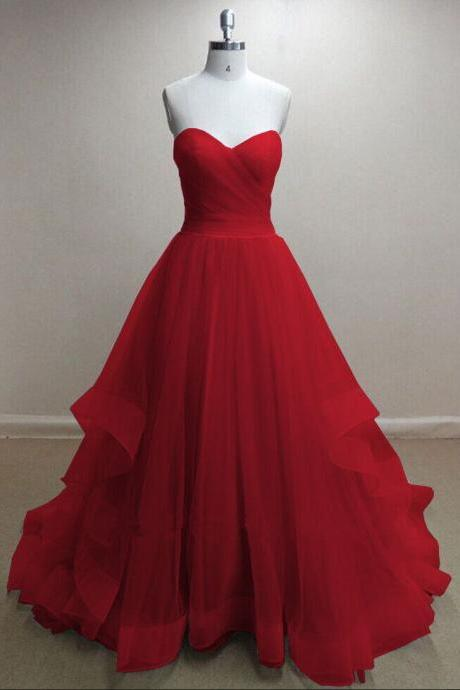 Pretty Handmade Tulle Red Sweetheart Long Prom Dresses, Red Prom Gowns, Tulle Formal Dresses,Red Formal Dresses, Red Girls Dresses