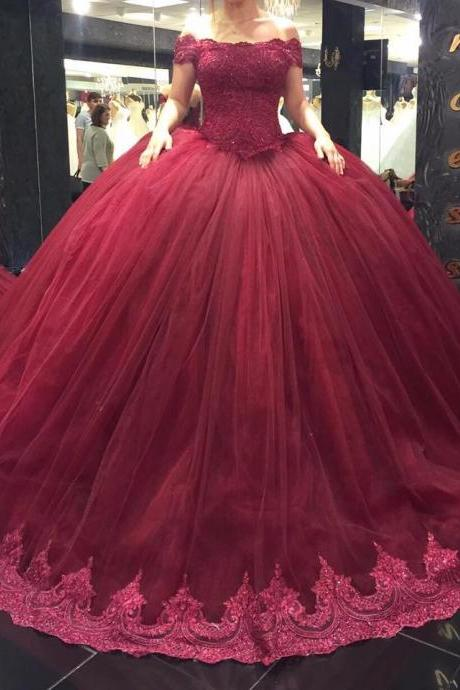 New Arrival Prom Dress,Modest Prom Dress,lace sweetheart pleated tulle ball gowns wedding dress 2018, burgundy bridal gowns,Ball Gowns Prom Dresses,