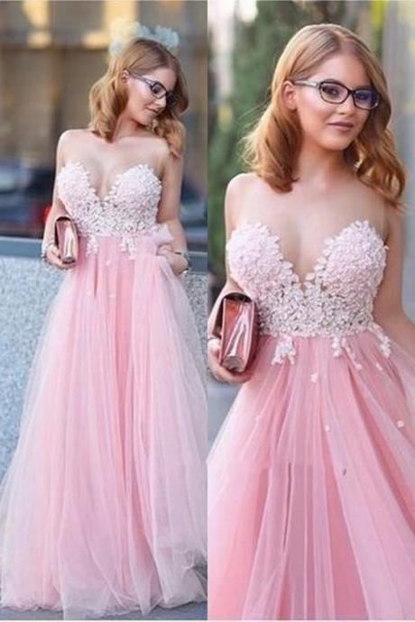 Hot Sale Pink Appliques Prom Dress,Sexy V-Neck Evening Dress,Fashion Prom Dress,Sexy Party Dress,Custom Made A-Line Applique Long Prom Dress,Pink Party Dresses
