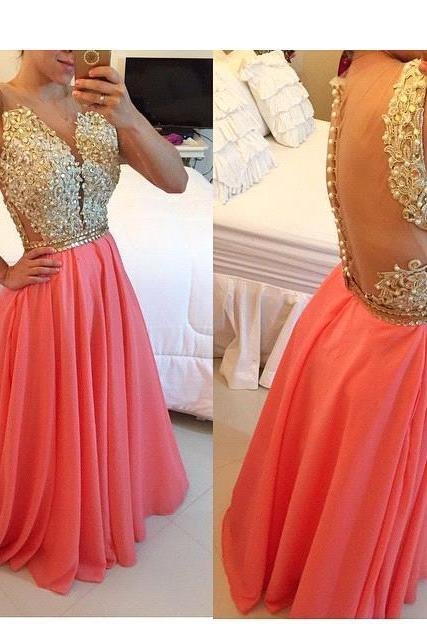 Formal Dress Prom Dress Sheer Illusion A-Line Prom Dresses 2018 Floor Length Lace Evening Gowns with Beadings Coral Chiffon Long Party Dresses Lace Appliqued Formal Gowns