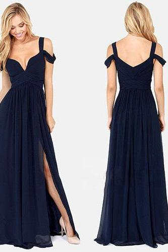 Stunning Navy Blue Chiffon Long Prom Dresses Spaghetti Straps Formal Evening Dresses Ruffle Simple Women Party Dresses A Line Prom Gowns Plus Size