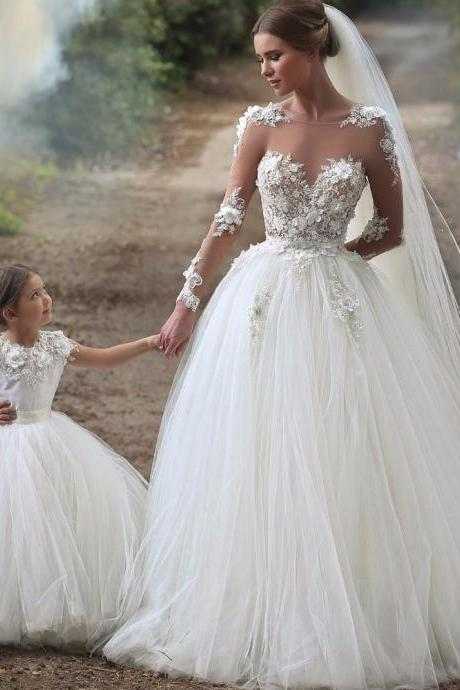 New Arrival Sheer Long Sleeve Lace Wedding Dresses Sexy Ball Gowns Wedding Custom Made Tulle Long Women Bridal Dresses Pricess Plus Size Country Wedding Gowns