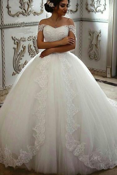 Off the Shoulder Wedding Dress, Wedding Ball Gown, Elegant Wedding Dress, Cheap Wedding Dress, Wedding Dresses 2018, Vestido De Novia, Lace Applique Wedding Dress, Short Sleeve Wedding Dress, Ivory Wedding Dress