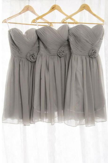 Gray Bridesmaid Dress, Short Bridesmaid Dress, Cute Bridesmaid Dress, Junior Bridesmaid Dress, Bridesmaid Dresses 2018, Cheap Bridesmaid Dress, Chiffon Bridesmaid Dress, Wedding Party Dresses