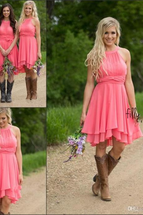 2018 Country Style Short Bridesmaid Dresses Watermelon Royal Blue Light Blue High Low Cheap Halter Neck Ruched Backless Summer Boho Dresses,Knee Length Brides Maid Dresses, Coral Chiffon Wedding Party Gowns ,
