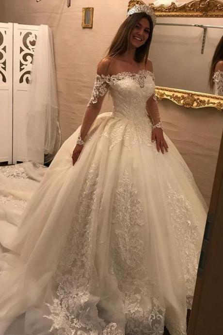 2018 Luxury Plus Size Lace Wedding Dresses High Quality Off Shoulder Women Wedding Gowns With Long Sheer Sleeve Appliqued Arabic Bridal Gowns ,Royal Train China Wedding Dresses Plus Size
