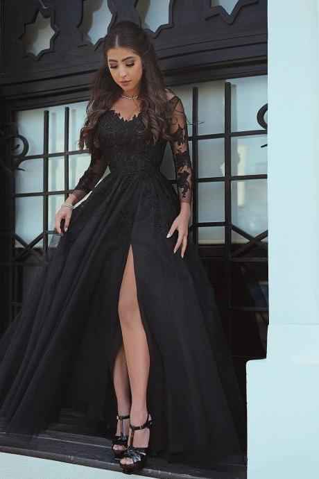 Said Mhamad 2018 Black Prom Dresses with Long Sleeves Lace Appliques Sexy Side Slit Party Gowns Women Dresses Ball Gown Prom Dress,Black Long Sheer Sleeve Appliqued Arabic Evening Dresses,Floor Length Women Pageant Gowns