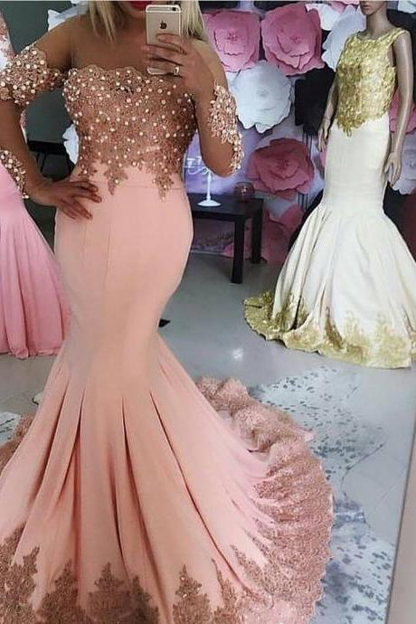 Kaftan Dubai Long Sleeve Mermaid Evening Dresses 2018 Formal Evening Gowns with Pearls Lace Appliques Pink Prom Party Dress Vestido Longo Plus Size Long Prom Dresses Strapless Women Party Gowns