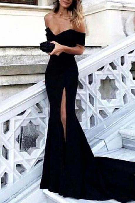 Sexy Leg Slit Long Mermaid Evening Dress Off Shoulder Prom Gowns 2018 New Arrival Black Formal Prom Dresses Off Shoulder Maxi Evening Party Gowns ,Black Formal Gowns