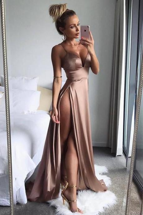 Evening Dress ,Thigh High Slits Sexy Evening Dress 2018 Elastic Satin Concise Long Party Gowns Spaghetti Straps Deep V neck Hot Evening Dresses,Sexy Wedding Party Gowns ,Plus Size Homecoming Gowns